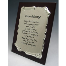 Wood/Silver Plated Home Blessing