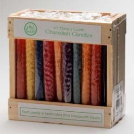 Honey Comb Chanukah Candles Multi Colored