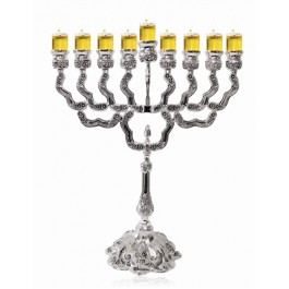Nickel Plated Oil Menorah