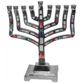 Aluminated Multi Color Candel Menorah
