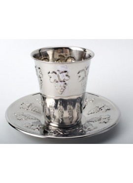 Grape Kiddush Cup with Tray Stainless Steel