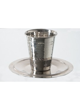 Stainless Steel Kiddush Cup with tray Hammered