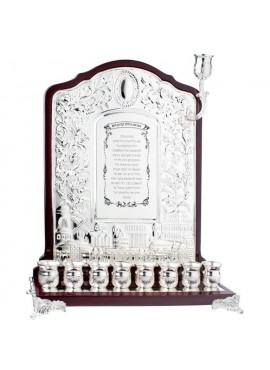 Wood & Silver Plated Wall Menorah