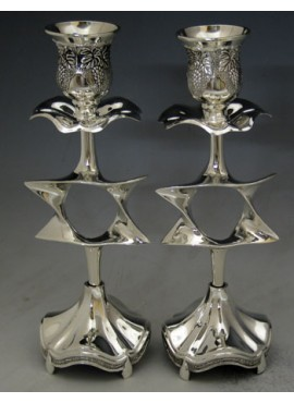 Candlestick Silver plated With a Star Of David