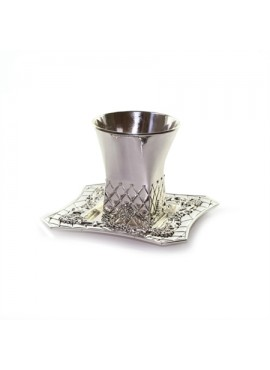 Silver Plated Kiddush Cup & Plate Daimond