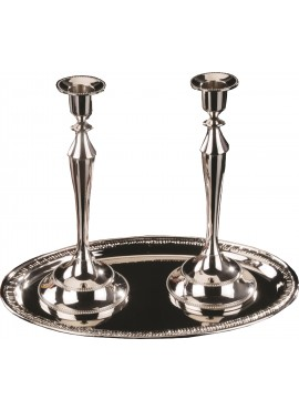 Candlesticks With Tray - Silver Plated