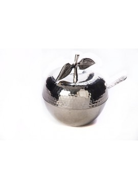 Rosh Hashanah Honey Dish Stainless Steel Hammered