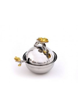 "4"" Dish with Spoon-Frangipani Nickel Sprinkled/Gold"