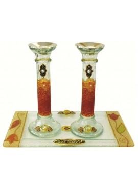 Candle Stick With Tray -  Applique Colorful