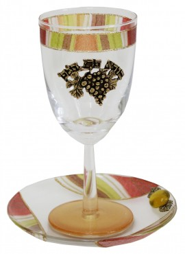 Glass Kiddush Cup with Plate Tulip - Colorful