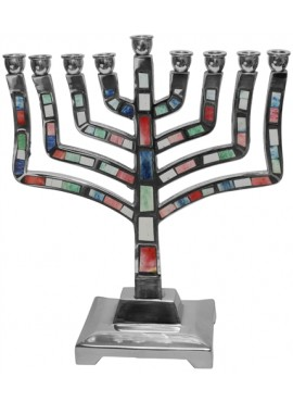 Aluminated Multi Color Candel Menorah