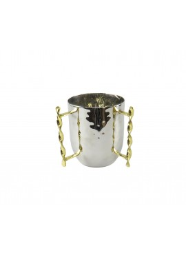 Two Tone Wash Cup with Gold Twisted Border