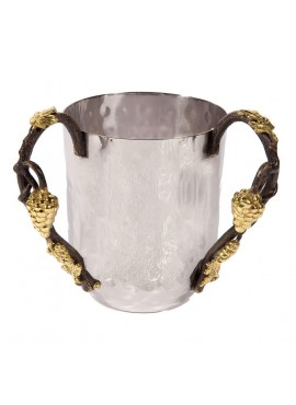 Emanuel Hammered Wash Cup with Grape Branches