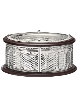 Seder Plate 3 Tier Wood And Silver Plated