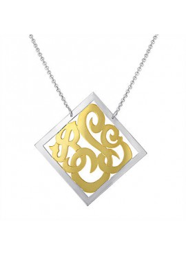 Silver Two Tone Diamond Shape Monogram Necklace