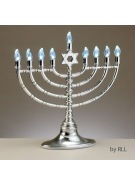 Electric Menorah Led - Silvertone